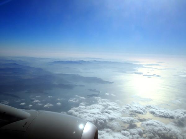 佐田岬上空から宇和島方面